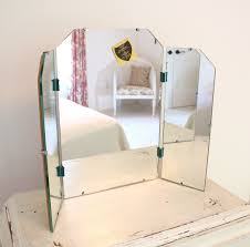 Mirror With Lights Around It Trendy Tri Fold Vanity Mirror With White Distressed Vanity Table