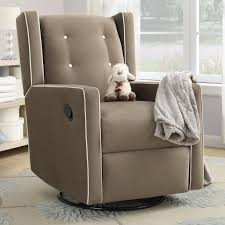 Recliner Rocking Chair Furniture Brown Upholstered Kids Recliner Rocking Chair With Wing