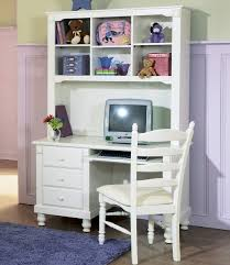 furniture white wooden corner desk with hutch having shelves and