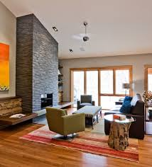 Angled Ceiling Fan by Good Looking Bench Fireplace Family Room Contemporary With Mid