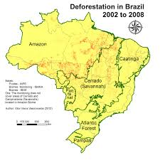 Amazon Rainforest Map File Deforestation In Brazil From 2002 To 2008 For Each Biome