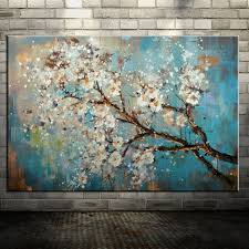 large 100 handpainted flowers tree abstract morden painting on
