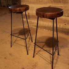 buy hand made reclaimed wood bar stools with industrial rebar legs