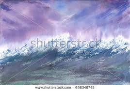 card blue orange blots watercolor painting stock vector 565666576