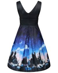 dress blue valerie blue fairytale castle print swing dress