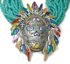 sugar skull indian chief necklace with turquoise mutli strand seed