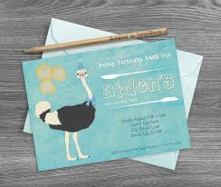 bird birthday invitation watercolor ostrich party invitation