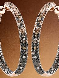 black diamond hoop earrings thin brown and black diamond hoop earrings gail jewelers
