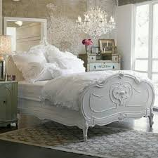 White French Bedroom White French Country Bedding Set With Crystal Chandelier For