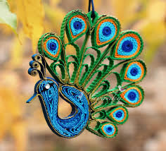 peacock paper quilling ornament in a gift box peacock home decor