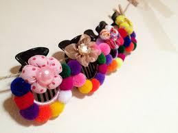 handmade hair accessories pom poms hair clip colorful hair accessories women accessory