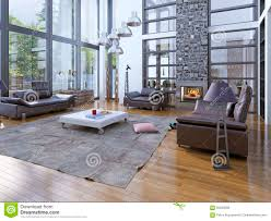 high ceilings living room with fireplace stock photo image