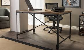 Industrial Writing Desk by 41 Off On Greyson Industrial Wooden Desk Groupon Goods