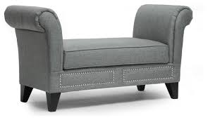 Black Indoor Bench - marsha modern scroll arm bench transitional indoor benches