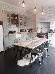 industrial kitchen table furniture vintage industrial hairpin leg rustic reclaimed plank top dining