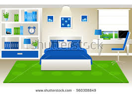 Blue And Green Bedroom Old Book Cartoon Vector Folio Encyclopedia Stock Vector 730116832