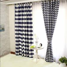 Black Check Curtains Lined Cotton Navy Black And White Buffalo Check Curtains