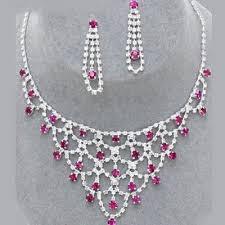 bijoux de mariage parure bijoux mariage cristal fushia ton argent