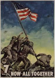 Flag Iwo Jima War Bond Sales Poster From 1945 World War Ii Official U S