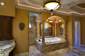spacious tuscan bathroom with extravagant bathing area stately
