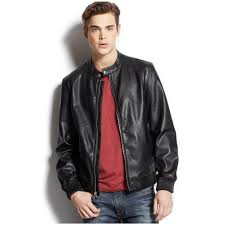 mens leather moto jacket guess ribbed trim faux leather moto jacket u2013 menecloth