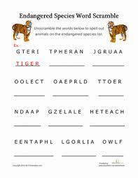 third grade spelling worksheets endangered species word scramble