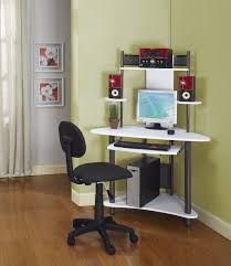 Computer Desk Small Furniture Brown Polished Wooden Corner Computer Desk With Shelf