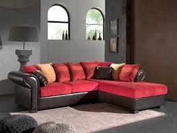canapé d angle cuir et tissu canapé d angle fixe contemporain en tissu pu brun sally