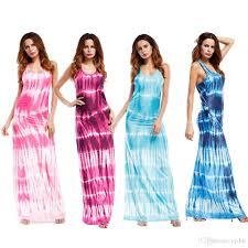light blue sleeveless dress european fashion bursts strapless color printing sleeve round neck