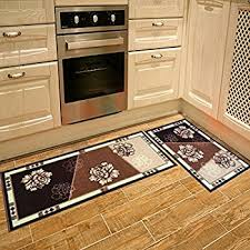 Kitchen Rugs With Rubber Backing Amazon Com Carvapet 3 Piece Non Slip Kitchen Mat Rubber Backing