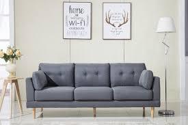 Mid Century Modern Sofa Bed by Madison Home Usa Mid Century Modern Ultra Plush Linen Fabric Sofa