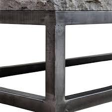 siza industrial loft grey metal frame stone top coffee table
