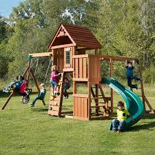How To Build A Wooden Playset Amazon Com Swing N Slide Cedar Brook Play Set Toys U0026 Games