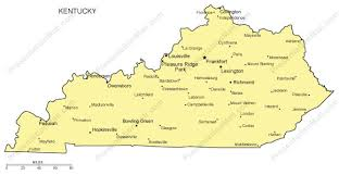 kentucky map kentucky outline map with capitals major cities digital vector