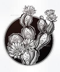 hand drawn romantic drawing with blooming cactus by itskatjas