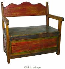Rustic Storage Bench Painted Wood Storage Bench