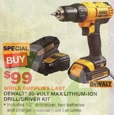 home depot black friday tools sale deal dewalt 20v max compact drill driver kit for 99