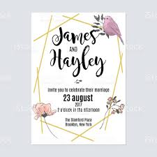 Floral Invitation Card Designs Gold Geometric Lines Floral Wedding Invitation Card Template