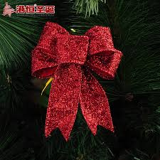 5pcs glitter color red silver gold christmas bow christmas tree