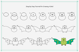 draw bird kids step step guide