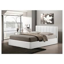Templemore White Leather Contemporary Bed Queen Baxton Studio - White leather contemporary bedroom furniture