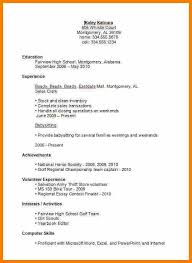 First Resume Examples Sample Resume For High Student Example Substantial Resume