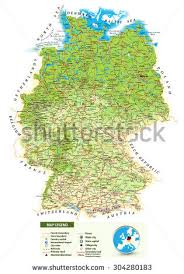 geographical map of germany large detailed road map germany topographic stock vector 304280183