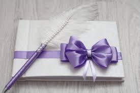 purple guest book violet purple white wedding guest book ostrich feather pen set