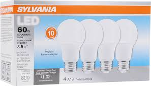 sylvania 60w equivalent led light bulb a19 lamp 4 pack