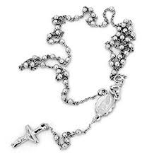 rosary necklace silver images Sterling silver rosary chain cross and st maria 20 jpg