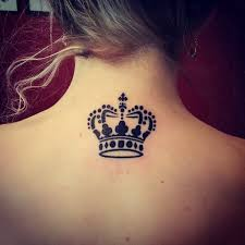 tattoo queen photos black queen crown tattoo on girl back neck