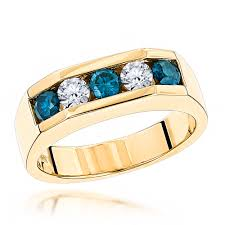 mens gold diamond rings 5 1 carat white and blue diamond ring 14k gold mens jewelry