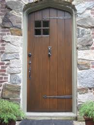 Door Design In Wood Old And Vintage Solid Wood Exterior Doors With Black Metal Handle