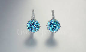 blue earrings umode white gold color 9mm 2 75 carat light blue cubic zirconia